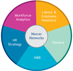 Mercer Networks Themes: Workforce Analytics, Labour & Employee Relations, Reward, H&B, HR strategy