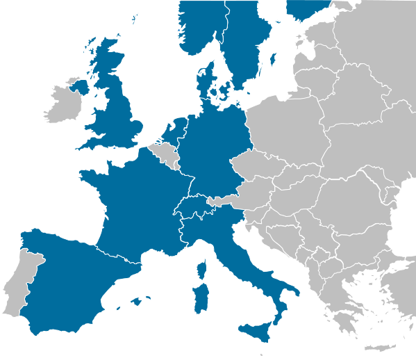 map of 11 markets across Europe, including Denmark, Finland, France, Germany, Italy, the Netherlands, Norway, Spain, Sweden, Switzerland and the United Kingdom.