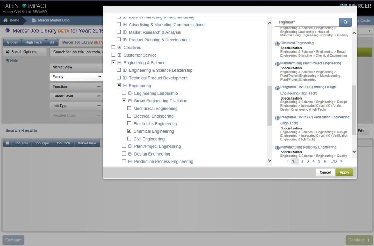 Mercer Job Library screenshot a