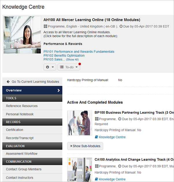 Screenshot of Mercer's Knowledge Centre