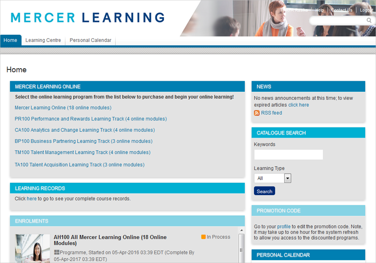 Screenshot of a user's personalized HR learning online homepage