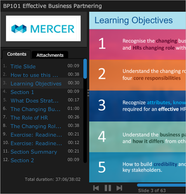 Screenshot of a user's step-by-step HR education learning objectives