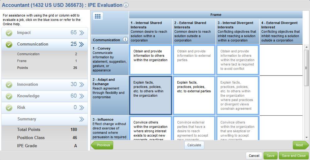 Mercer WIN / Advanced eIPE job evaluation screenshot