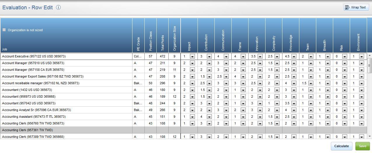Mercer WIN / Advanced eIPE row edit screenshot